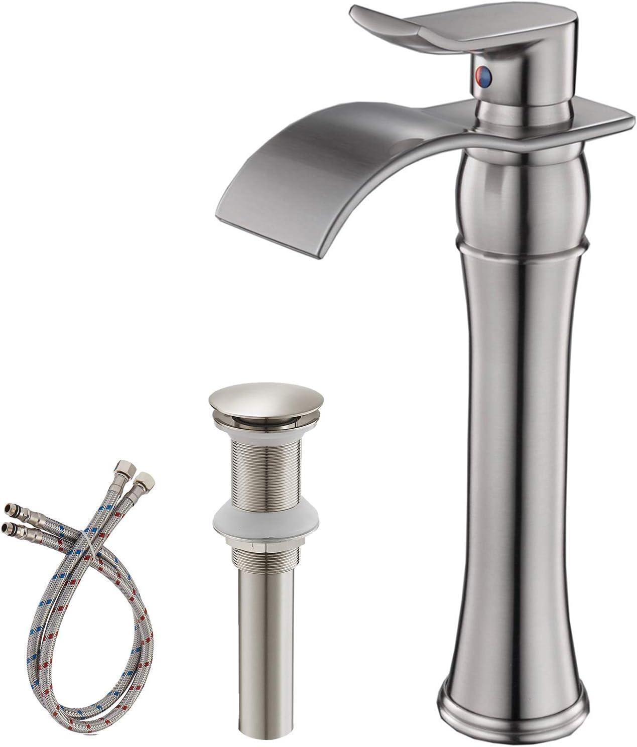 BWE Waterfall Bathroom Vessel Sink Faucet Basin Lavatory Vanity MixerTap W//Drain