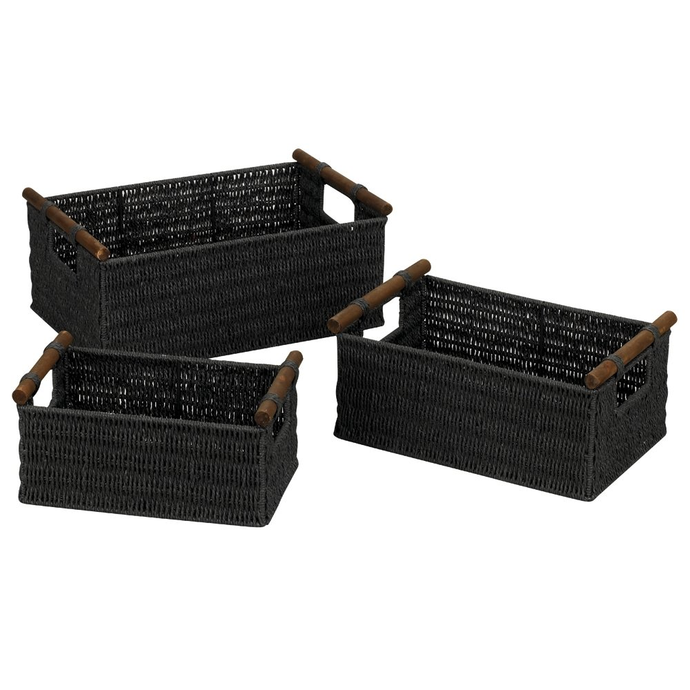 Exceptionnel Amazon.com: Household Essentials ML 7052 Paper Rope Wicker Storage Baskets  With Wood Handles |Set Of 3 | Black Stain: Home U0026 Kitchen