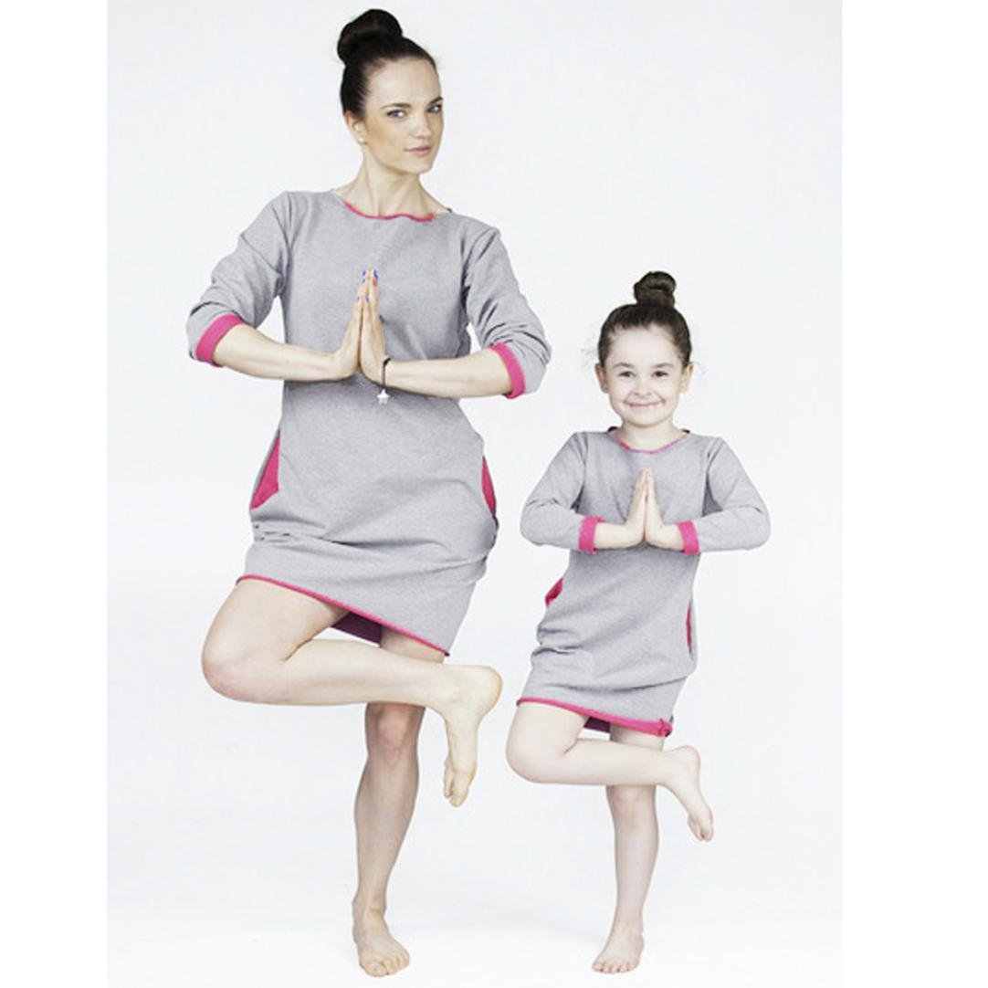 Hongxin Girls Pajamas Family Matching Clothes Long T-Shirts Daughter Mother Dresses Autumn Night Sleepwear