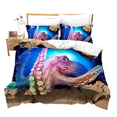 Erosebridal 3 Pcs Octopus Bedding Set 3D Duvet Cover Sets Octopus Pattern Soft Microfiber Comforter Coverfor Ocean Theme Quilt Cover for Kids Teens Girls Boys Adults, Blue Purple, Queen Size: Home & Kitchen