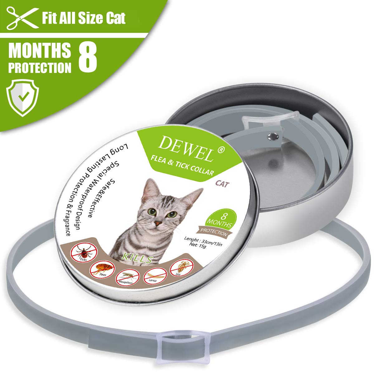 ZJH Flea and Tick Collar for Cats Waterproof, Adjustable and Natural Flea Collar Prevention Essential Oil for Pets One Size Fits All Cats by ZJH (Image #1)
