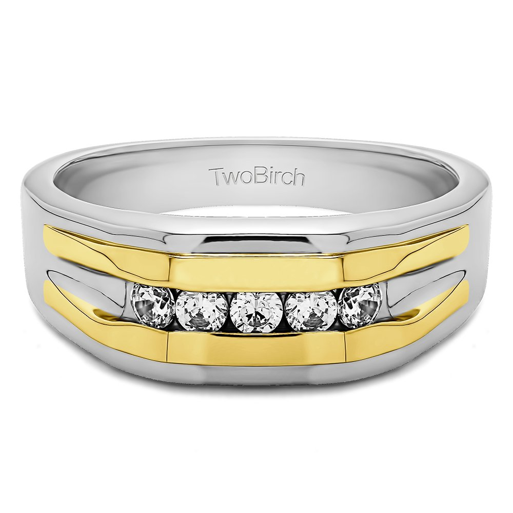 Size 3 to 15 in 1//4 Size Intervals Yellow Plated Sterling Silver Mens Wedding Band Cubic Zirconia 0.5Ct