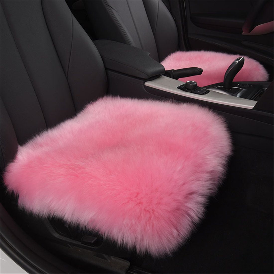 USIX 18'' Luxurious Squared Sheepskin Leather with Long Plush Wool Fur Chair Car Seat Cover Cushion with Straps Pad Mat Rug for Car Front Seats, Hard Wood Chairs, Office Chairs (Pink)