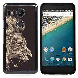 """For LG GOOGLE NEXUS 5X H790 Case , León Sepia Negro Blanco Rugido Rey Piel"""" - Diseño Patrón Teléfono Caso Cubierta Case Bumper Duro Protección Case Cover Funda"""
