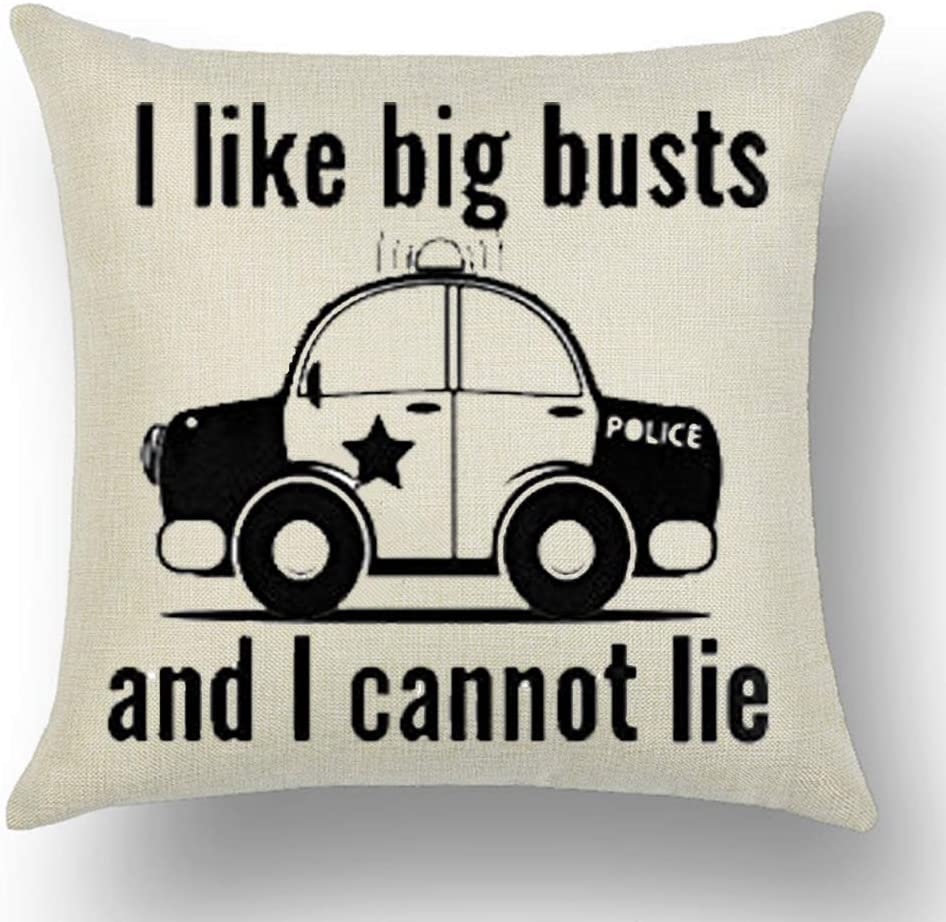 WePurchase Black Words I Like Busts and I Cannot Lie Quote Police Car Decoration Cotton Linen Decorative Home Sofa Living Room Throw Pillow Case Cushion Cover Square 18x18 Inches