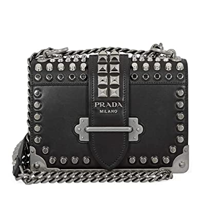 0b79037fb56311 Image Unavailable. Image not available for. Color: Prada Cahier Small Calf  Leather Crossbody - Black