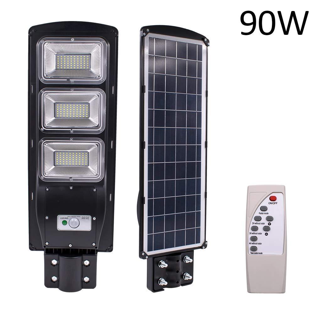 90W 180-LED Solar Sensor Outdoor Light with Light Control and Radar Sensor Black,XINCHUANG