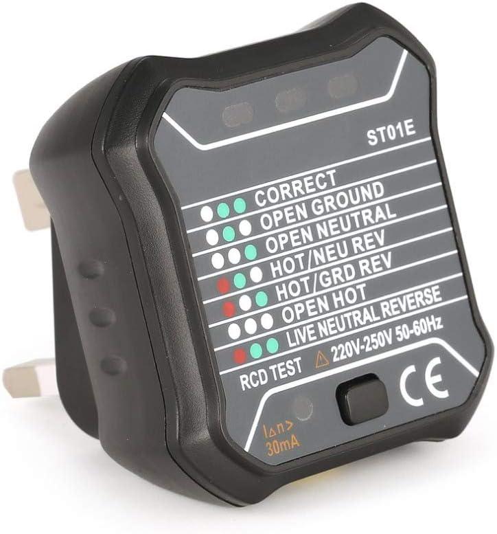 QWERTOUR Socket Outlet Tester Circuit Polarity Voltage Detector Wall Plug Breaker Finder RCD Test 220V~250V UK Plug