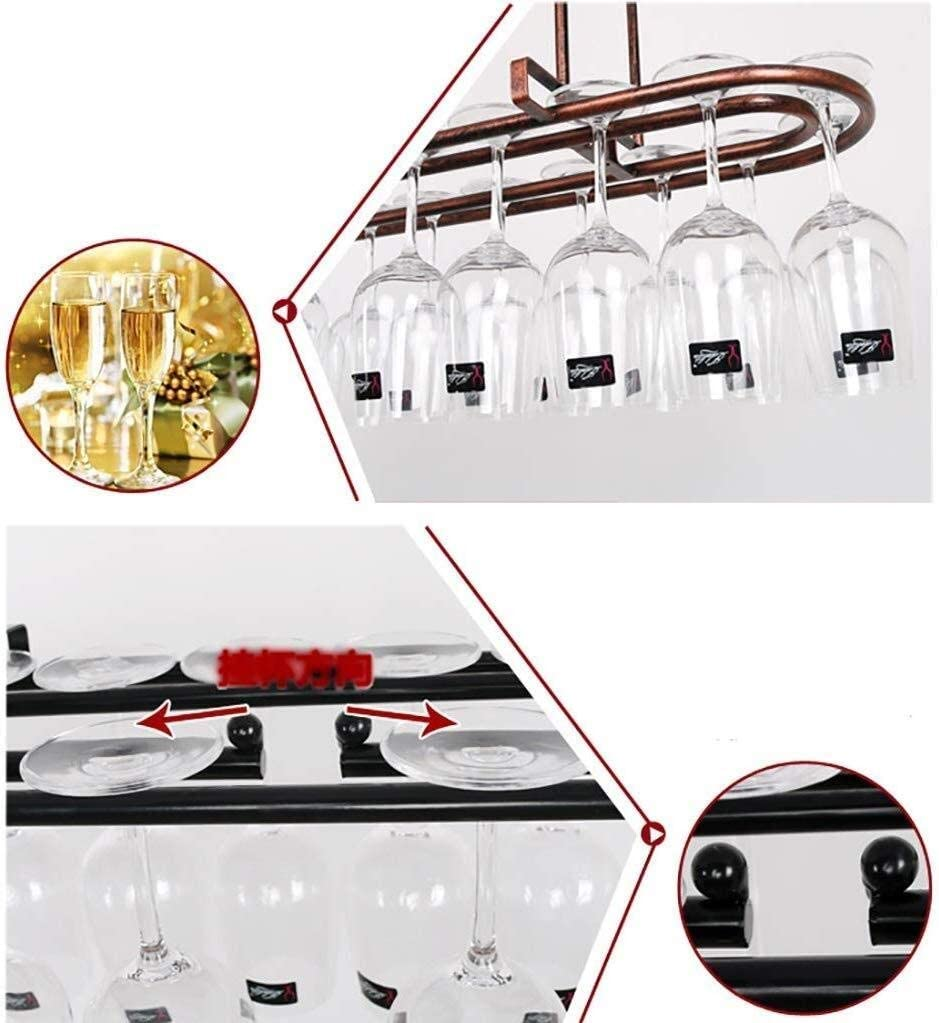 JY&WIN European hanging wine rack vintage home wine glass holder bar decoration wine glass holder storage (color: b size: 60x25cm) A