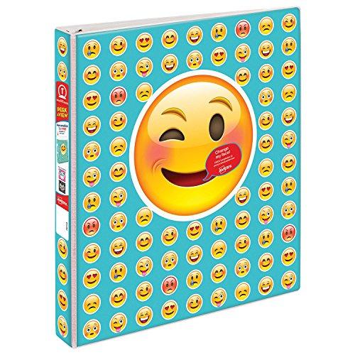 "Avery Peek A View Durable Customizable Emoji Binder, 1"" Round Rings, People Emoji Design (18725)"