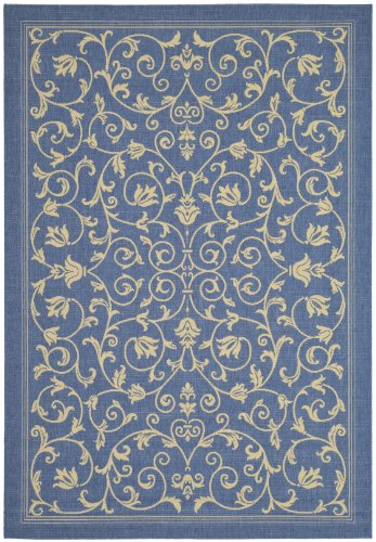 Safavieh Courtyard Collection CY2098-3103 Blue and Natural Indoor/ Outdoor Area Rug (9' x 12')