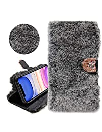 Rabbit Hair Glitter Wallet PU Leather Case for Samsung Galaxy A11 International Edition, YiCTe Shiny Rhinestone Diamond Fluffy Plush Bunny Furry Fuzzy Fur Cover,Card Slots,Stand,Kickstand,Dark Gray