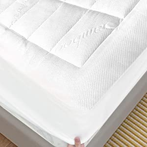 "ENITYA Bamboo Mattress Pad Full Size Hypoallergenic, Breathable, Soft Quilted Fitted Mattress Cover with 400 GSM Down Alternative Fill (8-21"" Deep Pocket)"