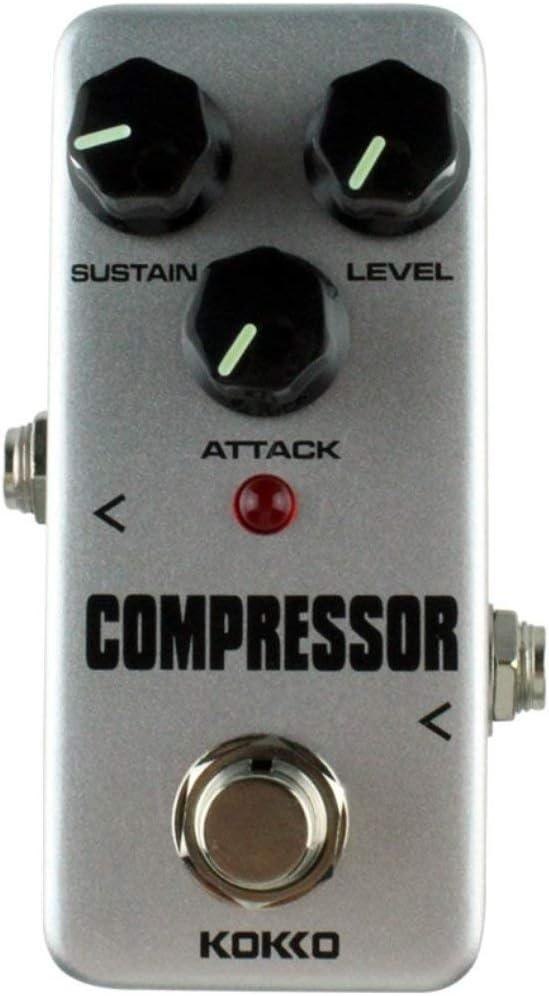 Aleación de aluminio antideslizante KOKKO FCP2 Mini Compresor Pedal Pedal de efecto de guitarra portátil 9V DC 300mA Instrumentos musicales Efectos (gris) ESjasnyfall