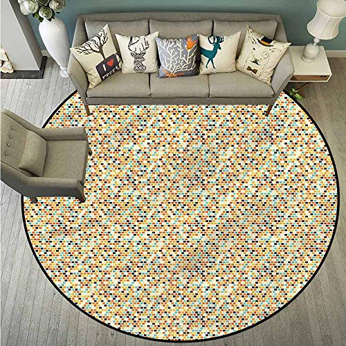 - Living Room Round Rugs,Mosaic,Brick Tile Look Colorful,Easy Clean Rugs,4'7