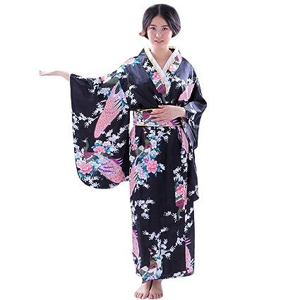 SMILEQ Traje de Kimono Estampado de Mujer Vestido ...
