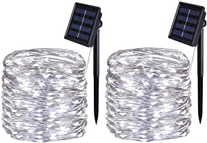 BOLWEO 2 Pack Solar String Lights Outdoor, Solar Fairy Lights, 10M / 33Ft 100LEDS 8 Modes, Waterproof Copper Wire Lighting for Indoor Wedding Patio Home Garden Decoration (Cool White)