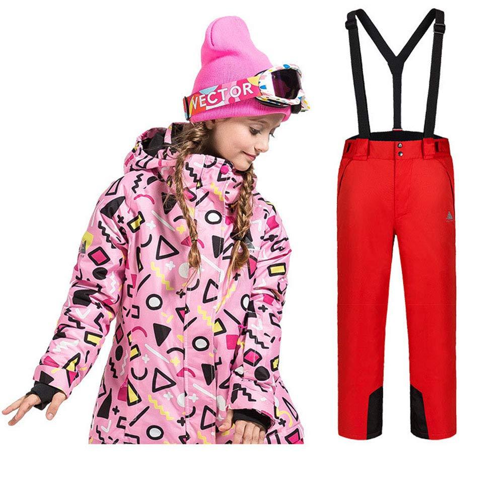 YFCH Ragazzi Bambini con Cappuccio Addensare Modello Stampato Sci Snowproof Outdoor Adatta Impermeabile Imbottito Giacche da Sci con Pantaloni 2 Pezzi 6-14 Anni