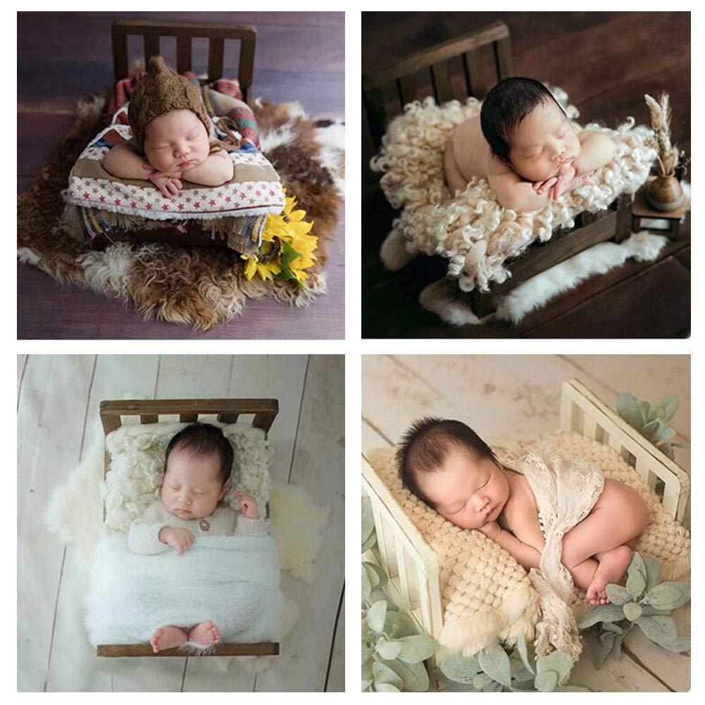 AEROBATICS Neugeborene Fotografie Requisiten Kinderbett,Baby Foto kleines Holzbett Baby Foto Props Sofa Neugeborenen Fotografie Requisiten Foto Prop Lange Haare Neugeborenen Fotografie