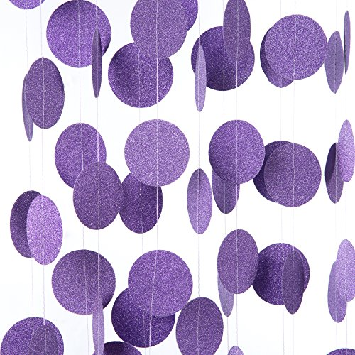 MOWO Streamer Paper Garland Hanging Favor Decoration 20 Feet 2pc Purple Glitter