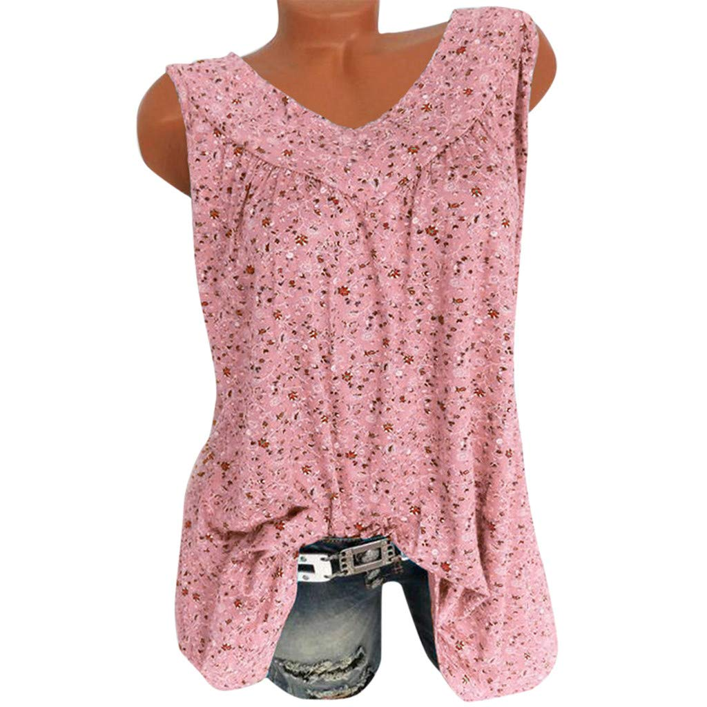 Womens V Neck Flowy Tank Tops Loose Casual Sleeveless Shirts Blouses