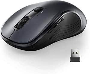 WisFox 2.4G Wireless Mouse for Laptop, Ergonomic Computer Mouse with Triple Mode (Dual Bluetooth + USB) and 3 Adjustable Levels, 6 Button Cordless Mouse Bluetooth Mouse for Windows Mac PC Notebook