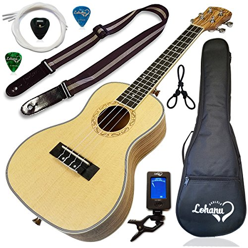 Ukulele from Lohanu Spruce Top Zebra Wood Sides & Back With All Accessories Included (Concert) by Lohanu