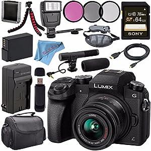 Panasonic Lumix DMC-G7 Mirrorless Camera with 14-42mm Lens (Black) DMC-G7KK + 46mm 3 Piece Filter Kit + DMW-BLC12 Lithium Ion Battery + External Rapid Charger + Sony 64GB SDXC Card Bundle