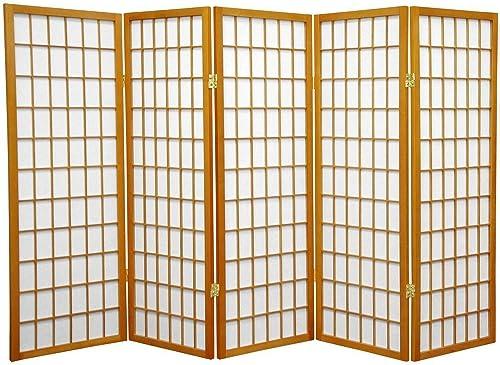 Oriental Furniture 4 ft. Tall Window Pane Shoji Screen – Honey – 5 Panels