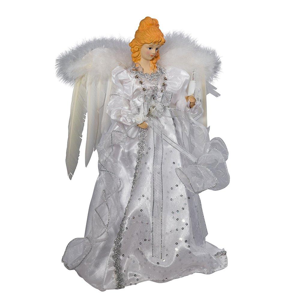 Kurt Adler 14'' 10-Light White and Silver Angel Treetop