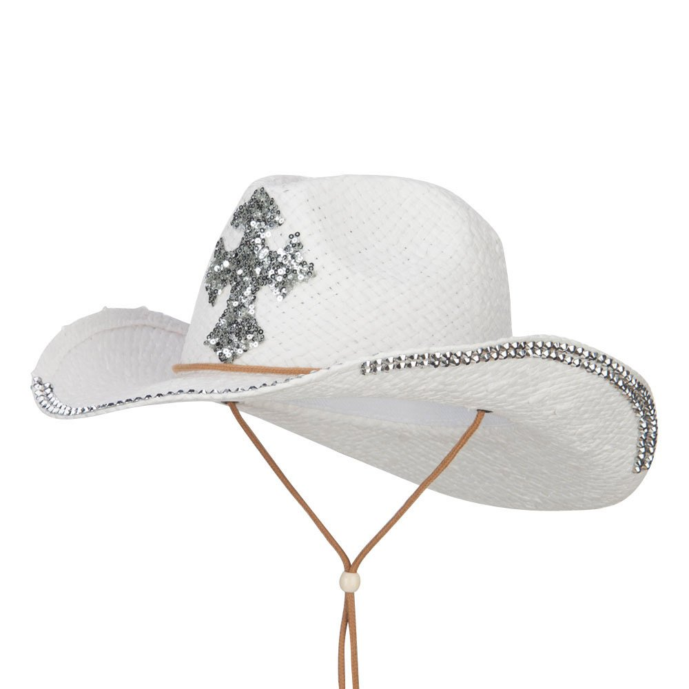 Cross Design Stones Straw Cowboy Hat (One Size, White)