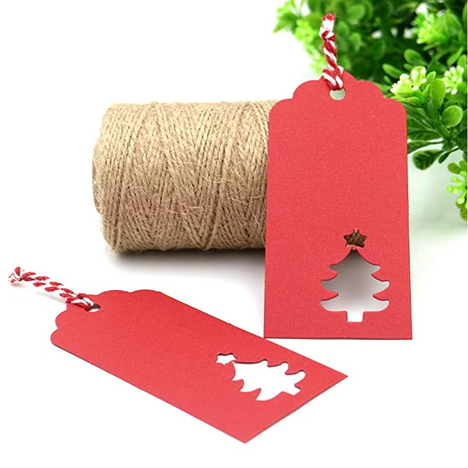 784bb1890ca5 Red Tags,100 PCS Christmas Gift Tags,Hollow Christmas Tree Design Paper  Tags with 30M String for Arts and Crafts,Wedding Christmas and Holiday  Party ...
