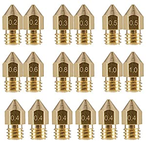 EAONE 18 Pcs 3D Printer Nozzles M6 Extruder Brass Nozzle Print Head (2x0.2mm+2x0.3mm+6x0.4mm+2x0.5mm+2x0.6mm+2x0.8mm+2x1.0mm) for MK8 Makerbot from EAONE