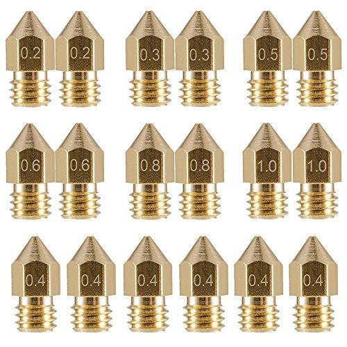 EAONE 18 boquillas de impresora 3D M6 extrusora de latón con boquilla de impresión (20.2 mm + 20.3 mm + 60.4 mm + 20.5 mm + 20.6 mm + 20.8 mm + 21.0 ...