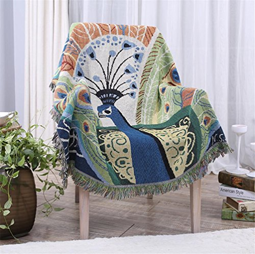 Double-Sided Chenille Jacquard Tassels Cashmere Woven Throw Blanket Decorative Sofa Chair Cover Tablecloth-Peacock Pattern,130160cm