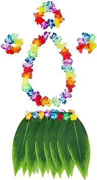 Zoopwon - 1 pieza / 5 faldas de hula para adultos, estilo hawaiano ...