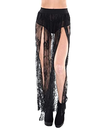 04c9e9936296 Amazon.com: iHeartRaves Women's Stretchy Sheer Mesh and Lace Long ...
