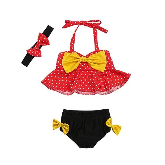 4689b5c0a8ebf Hunputa Men's Cute Bikini Big Bowknot Dots 3 Pieces Ruffle Swimwear Sets  with Headband 6-