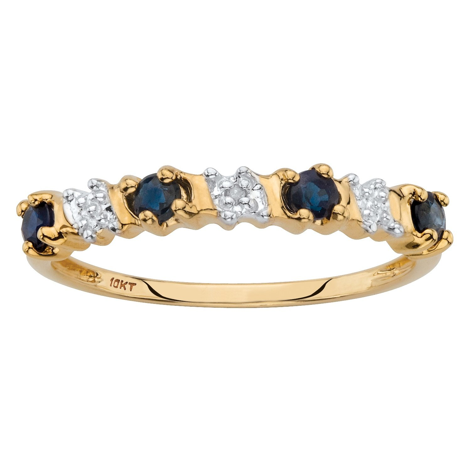 Solid 10k Yellow Gold Round Genuine Blue Sapphire and Diamond Accent Ring Size 7
