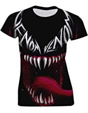 LeoCap Ve-nom Women's Tee Polyester T-Shirts 3D Print Pullover Short Sleeve