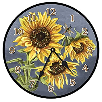 Tuscan Sunflowers Wall Clock, Available in 8 Sizes, Most Sizes Ship 2-3 Days, Whisper Quiet.