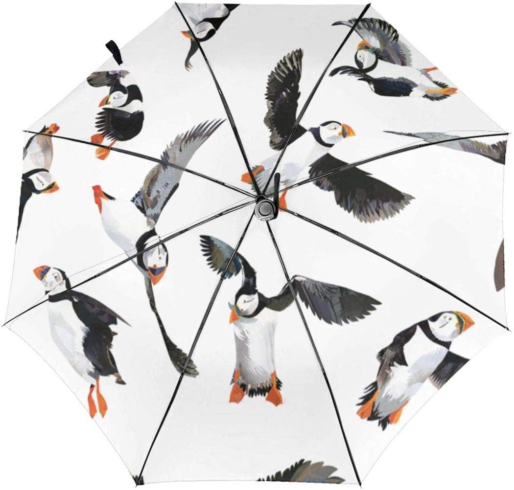 Puffin Birds Pattern Automatic Tri-Fold Umbrella Parasol Sun Umbrella Sunshade