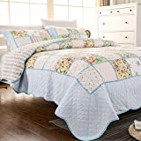 Brandream Queen Size Romantic Floral Patchwork Quilted Bedspread Cotton Quilts Set