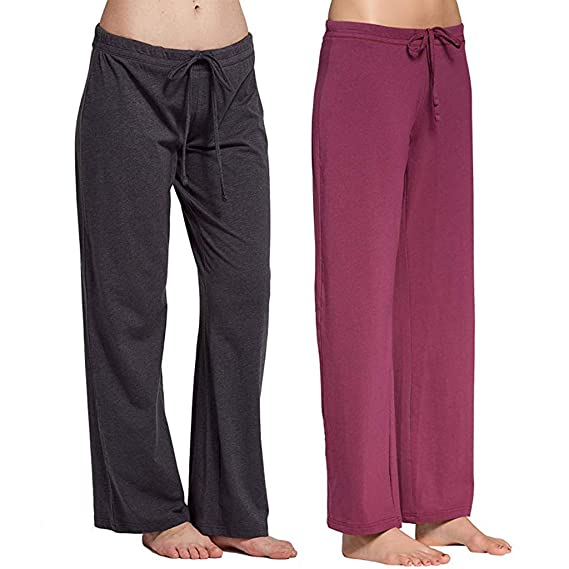 Hanomes para Mujer Pantalones de Pijama de algodón elástico ...