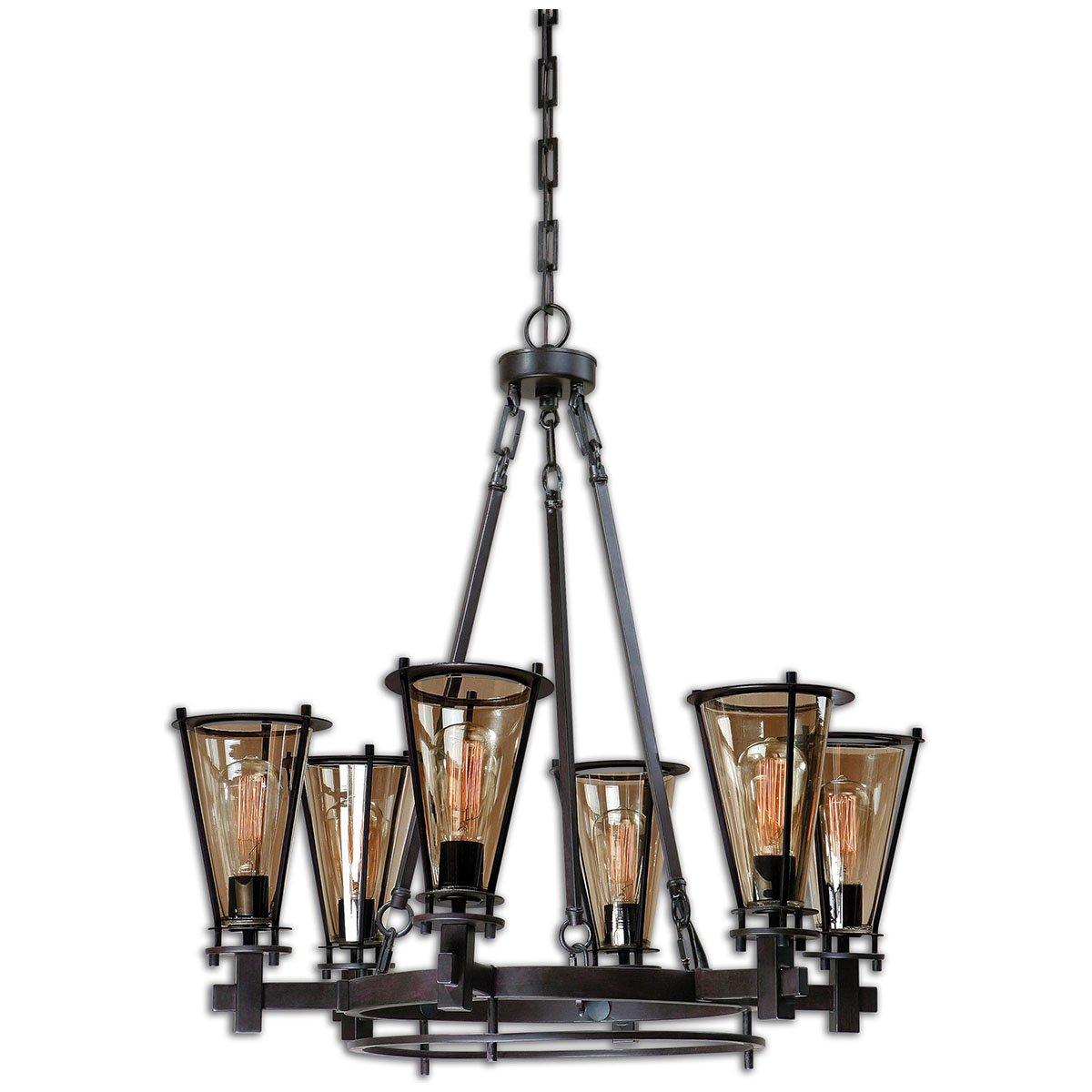 Amazon uttermost 21263 frisco 6 light metal chandelier home amazon uttermost 21263 frisco 6 light metal chandelier home kitchen aloadofball Images
