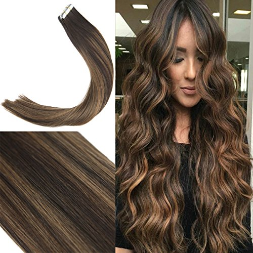 Youngsee 22inch Skin Weft Tape in Human Hair Extensions Lowlight Darkest Brown with Medium Brown Seamless Tape in Extensions Real Hair 10pcs/25g