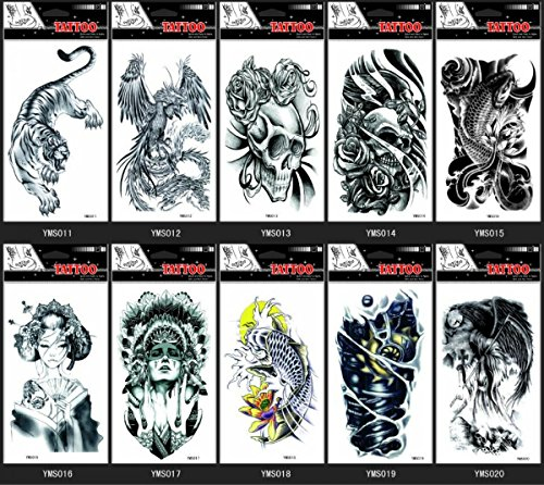 GGSELL GGSELL 10pcs temp fake tattoo stickers in 1 package,it including eagle,tiger,women,evil,skull,fish,etc.