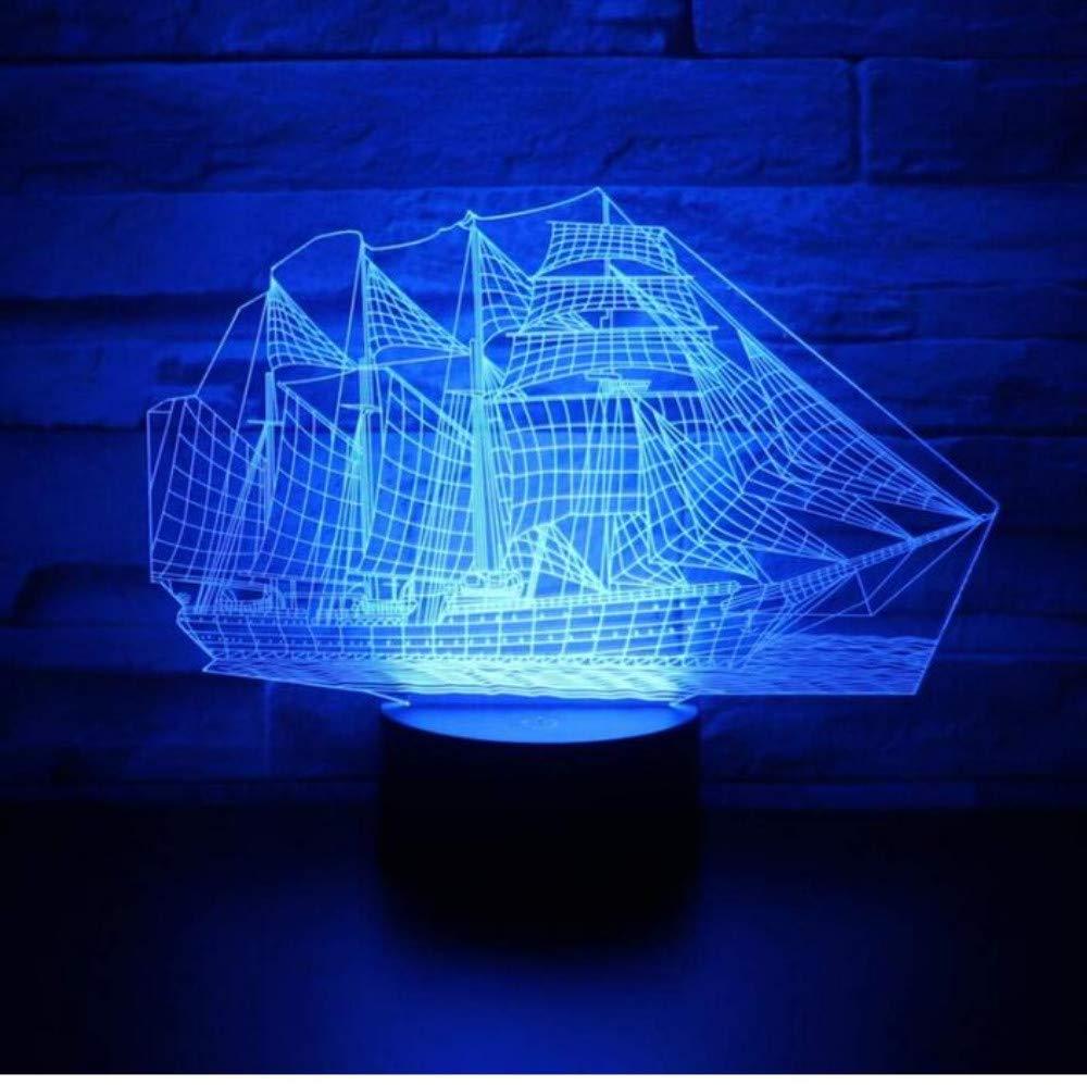 Lampadario E27 Vintage Light Applique A Led3D Ha Condotto La Nave Della Luce Della Nave Della Luce Notturna Con Una Luce Di 7 Colorei Per La Lampada Della Decorazione Domestica