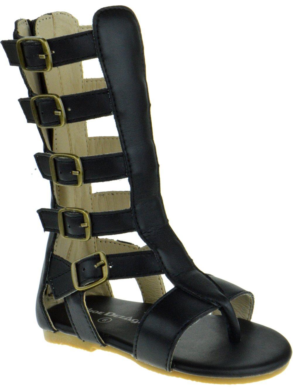Gladiator 01K Little Girls Strappy Gladiator Buckled Flat Sandals Black 9
