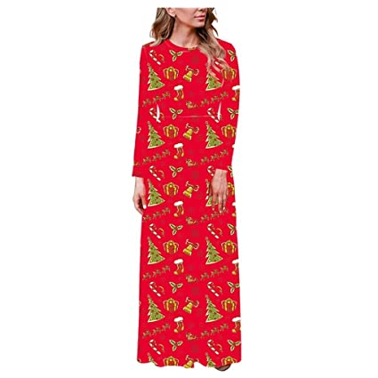 ZODOF vestido navideño mujer Manga larga O-cuello Impresión Casual ...